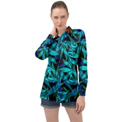 420 Ganja Pattern, Weed Leafs, Marihujana In Colors Long Sleeve Satin Shirt