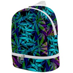 420 Ganja Pattern, Weed Leafs, Marihujana In Colors Zip Bottom Backpack