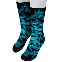 420 Ganja Pattern, Weed Leafs, Marihujana In Colors Men s Crew Socks