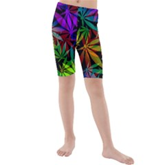 Ganja In Rainbow Colors, Weed Pattern, Marihujana Theme Kids  Mid Length Swim Shorts