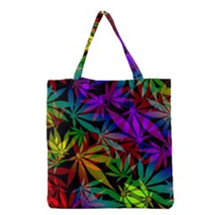 Ganja In Rainbow Colors, Weed Pattern, Marihujana Theme Grocery Tote Bag