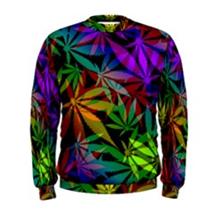 Ganja In Rainbow Colors, Weed Pattern, Marihujana Theme Men s Sweatshirt