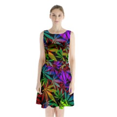 Ganja In Rainbow Colors, Weed Pattern, Marihujana Theme Sleeveless Waist Tie Chiffon Dress