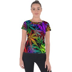 Ganja In Rainbow Colors, Weed Pattern, Marihujana Theme Short Sleeve Sports Top