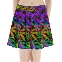 Ganja In Rainbow Colors, Weed Pattern, Marihujana Theme Pleated Mini Skirt