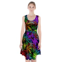 Ganja In Rainbow Colors, Weed Pattern, Marihujana Theme Racerback Midi Dress