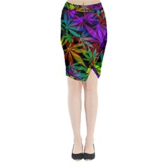 Ganja In Rainbow Colors, Weed Pattern, Marihujana Theme Midi Wrap Pencil Skirt