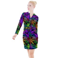 Ganja In Rainbow Colors, Weed Pattern, Marihujana Theme Button Long Sleeve Dress