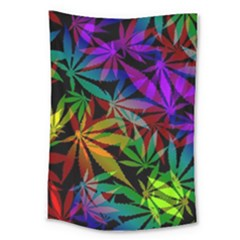 Ganja In Rainbow Colors, Weed Pattern, Marihujana Theme Large Tapestry