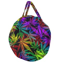 Ganja In Rainbow Colors, Weed Pattern, Marihujana Theme Giant Round Zipper Tote