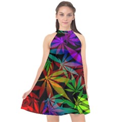 Ganja In Rainbow Colors, Weed Pattern, Marihujana Theme Halter Neckline Chiffon Dress