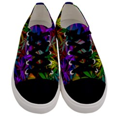 Ganja In Rainbow Colors, Weed Pattern, Marihujana Theme Men s Low Top Canvas Sneakers