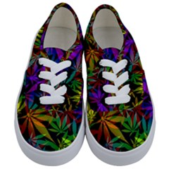 Ganja In Rainbow Colors, Weed Pattern, Marihujana Theme Kids  Classic Low Top Sneakers