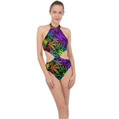 Ganja In Rainbow Colors, Weed Pattern, Marihujana Theme Halter Side Cut Swimsuit