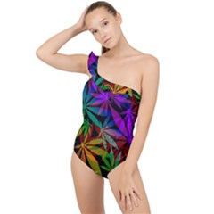 Ganja In Rainbow Colors, Weed Pattern, Marihujana Theme Frilly One Shoulder Swimsuit