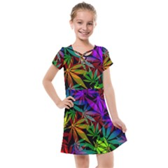 Ganja In Rainbow Colors, Weed Pattern, Marihujana Theme Kids  Cross Web Dress