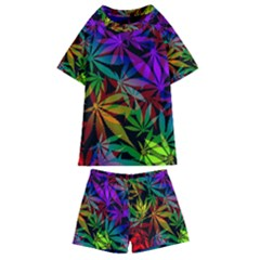 Ganja In Rainbow Colors, Weed Pattern, Marihujana Theme Kids  Swim Tee And Shorts Set