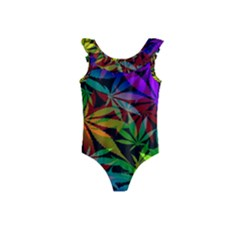 Ganja In Rainbow Colors, Weed Pattern, Marihujana Theme Kids  Frill Swimsuit