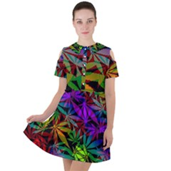 Ganja In Rainbow Colors, Weed Pattern, Marihujana Theme Short Sleeve Shoulder Cut Out Dress