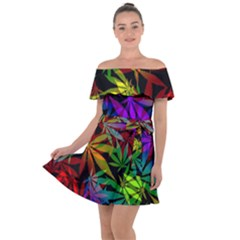 Ganja In Rainbow Colors, Weed Pattern, Marihujana Theme Off Shoulder Velour Dress