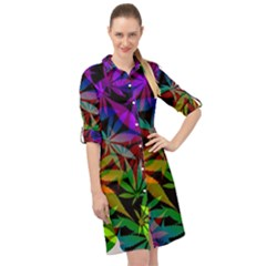 Ganja In Rainbow Colors, Weed Pattern, Marihujana Theme Long Sleeve Mini Shirt Dress