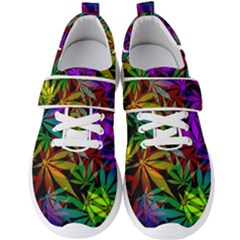 Ganja In Rainbow Colors, Weed Pattern, Marihujana Theme Men s Velcro Strap Shoes