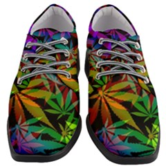 Ganja In Rainbow Colors, Weed Pattern, Marihujana Theme Women Heeled Oxford Shoes