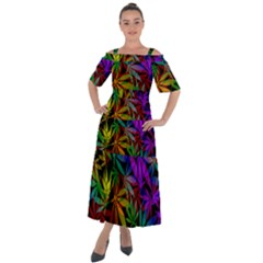 Ganja In Rainbow Colors, Weed Pattern, Marihujana Theme Shoulder Straps Boho Maxi Dress