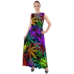 Ganja In Rainbow Colors, Weed Pattern, Marihujana Theme Chiffon Mesh Boho Maxi Dress