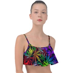 Ganja In Rainbow Colors, Weed Pattern, Marihujana Theme Frill Bikini Top