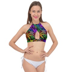Ganja In Rainbow Colors, Weed Pattern, Marihujana Theme Cross Front Halter Bikini Top