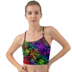 Ganja In Rainbow Colors, Weed Pattern, Marihujana Theme Mini Tank Bikini Top