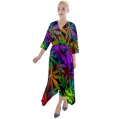 Ganja In Rainbow Colors, Weed Pattern, Marihujana Theme Quarter Sleeve Wrap Front Maxi Dress