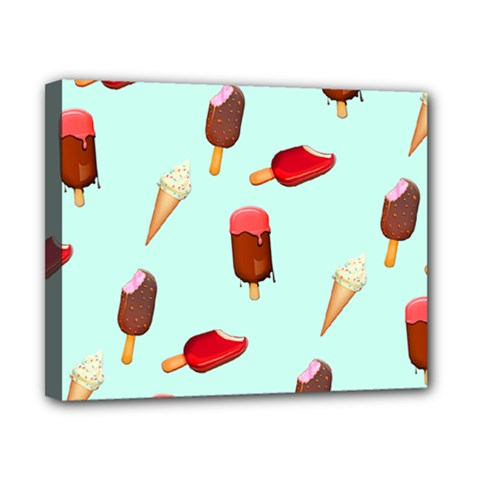 Ice Cream Pattern, Light Blue Background Canvas 10  X 8  (stretched)