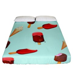 Ice Cream Pattern, Light Blue Background Fitted Sheet (king Size)