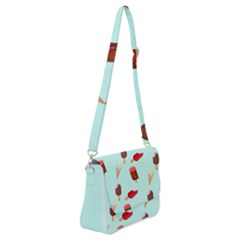 Ice Cream Pattern, Light Blue Background Shoulder Bag With Back Zipper