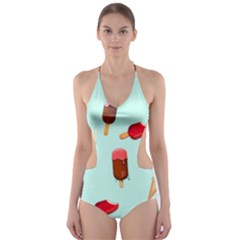 Ice Cream Pattern, Light Blue Background Cut-out One Piece Swimsuit
