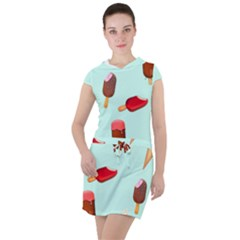 Ice Cream Pattern, Light Blue Background Drawstring Hooded Dress