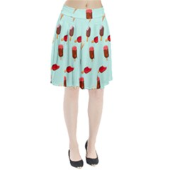 Ice Cream Pattern, Light Blue Background Pleated Skirt