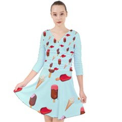 Ice Cream Pattern, Light Blue Background Quarter Sleeve Front Wrap Dress