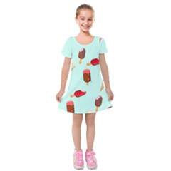 Ice Cream Pattern, Light Blue Background Kids  Short Sleeve Velvet Dress