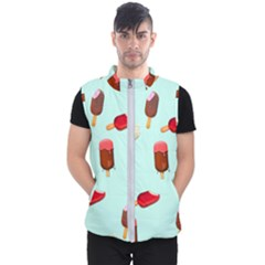 Ice Cream Pattern, Light Blue Background Men s Puffer Vest