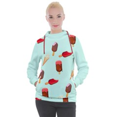 Ice Cream Pattern, Light Blue Background Women s Hooded Pullover