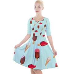 Ice Cream Pattern, Light Blue Background Quarter Sleeve A-line Dress