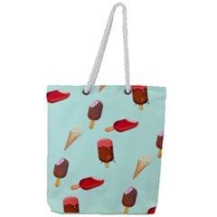 Ice Cream Pattern, Light Blue Background Full Print Rope Handle Tote (large)
