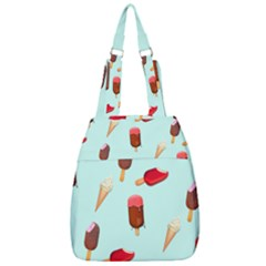 Ice Cream Pattern, Light Blue Background Center Zip Backpack