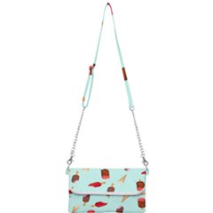 Ice Cream Pattern, Light Blue Background Mini Crossbody Handbag