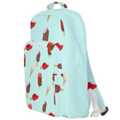 Ice Cream Pattern, Light Blue Background Double Compartment Backpack