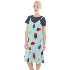 Ice Cream Pattern, Light Blue Background Camis Fishtail Dress
