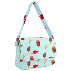 Ice Cream Pattern, Light Blue Background Courier Bag